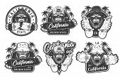 Vintage Monochrome Summer Skateboarding Labels With Angry Ferocious Gorilla Heads In Beanie Panama H poster