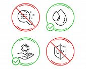 Do Or Stop. Oil Drop, Skin Condition And Sun Protection Icons Simple Set. Uv Protection Sign. Serum, poster