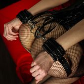 Adult Sex Games. Submissive Girl In Bondage Prepare For Punishment. - Image poster