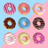 Set Of Cartoon Colorful Donuts Isolated On Blue And Pink Background. Donuts Collection Into Glaze Fo poster