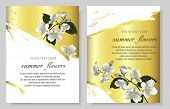 Set Of Vector Banners With Luxurious Jasmine Flowers On Gold Background. Template For Greeting Cards poster