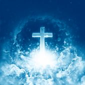 Concept Of Christian Religion Shining Cross On The Background Of Cloudy Sky. Divine Shining Heaven.  poster