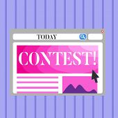 Word Writing Text Contest. Business Concept For Game Tournament Competition Event Trial Conquest Bat poster