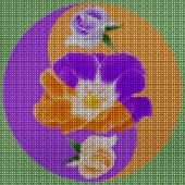 Illustration Cross-stitch Mandala From Dried Pressed Flowers. Rose Flower. Cross-stitch Floral Colla poster