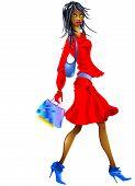 Nice Girl Going To Shopping