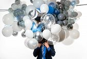 Handsome Happy Man With Big Bunch Of Balloons. Bearded Man With Balloons At Birthday Party. Stylish  poster