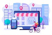 Online Shopping In The Online Store, Delivery Of Goods By Courier And Payment Via The Payment Termin poster