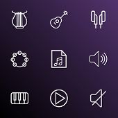 Multimedia Icons Line Style Set With Play, Mute, Play List And Other Soundless Elements. Isolated  I poster