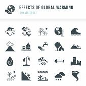 Set Of Global Warming Icons. Natural Disasters Caused By Climate Change. Effects Of Global Warming I poster