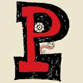 stock photo of letter p  - hand drawn alphabet - JPG