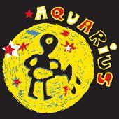 naive horoscope, hand drawn sign of the zodiac aquarius