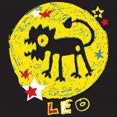 naive horoscope, hand drawn sign of the zodiac leo