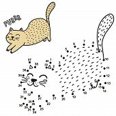 Connect The Dots And Draw A Cute Purring Cat. Numbers Game For Children. Vector Illustration poster