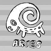 archaistic horoscope, hand drawn sign of the zodiac aries