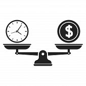 Time And Money On Scales Icon. Time Is Money. Money And Time Balance On Scale. Vector Illustration poster