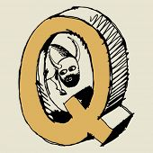 grotesque ABC, scribble letter Q