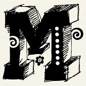 funny vector contre-jour ABC, hand drawn letter M