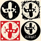 abstract hand drawn icons, doodle aircraft