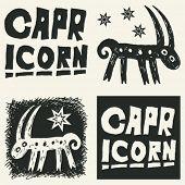 naive abstract horoscope, hand drawn sign of the zodiac capricorn
