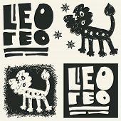 naive abstract horoscope, hand drawn sign of the zodiac leo
