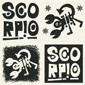 naive abstract horoscope, hand drawn sign of the zodiac scorpio