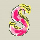 alfabeto infantil guache, letra de mão desenhada S
