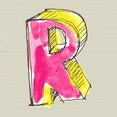 alfabeto infantil guache, letra de mão desenhada R