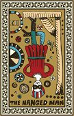 hand drawn tarot deck, major arcana, the hanged man