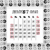 doodle calendar for year 2012, August