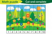 Math Puzzle, Spring Picture In Cartoon Style, Education Game For Development Of Preschool Children,  poster