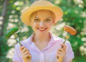 Choice Between Meat Or Vegetables. Girl Smiling Face Holds Forks With Sausage And Cucumber. Alternat poster