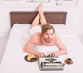 Author Having Breakfast In Bed Eat Croissant And Coffee. Pleasant Occupation. Morning Inspiration. M poster