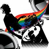 Girl Dj And Rainbow Music.