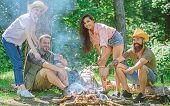 Company Friends Or Family Picnic Roasting Food. Plan For Perfect Day Hike Picnic. Friends Relaxing N poster
