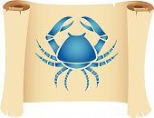 stock photo of blue crab  - Cancer zodiac star sign on a grunge manuscript - JPG