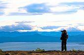 Tourist-Photographer. Kamchatka. poster