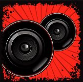 Sub-Woofers Red Background Black Grunge