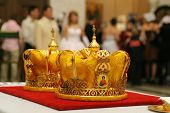 foto of unity candle  - Two orthodox crowns prepared for wedding ceremony