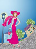 Glamour Lady In Pink Dress Walks Around An old time Town