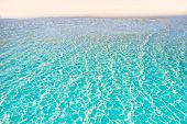 Tropical beach water transparent clear turquoise aqua background poster