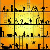 stock photo of backhoe  - construction worker silhouette at work vector illustration - JPG
