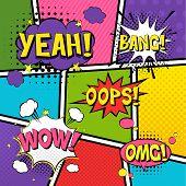 Comic Speech Bubbles. Pop Art Vector Label Illustration. Vintage Comics Book Poster On Blue Backgrou poster