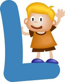 picture of alphabet letters  - Happy kid playing with Alphabet letter L - JPG