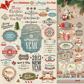 Christmas vintage Scrapbook set - labels, ribbons and other decorative elements. Vector illustration