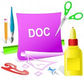 Doc. Paper template. Raster illustration.