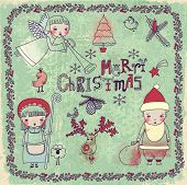 Set of Christmas and New Years Doodles and Drawings, including Christmas angel, Santa Clause, reindeer, shepherdess, ivy border and Merry Christmas greeting, on a vintage, textured background
