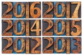 incoming years from 2012 to 2017 - isolated text in vintage letterpress wood type printing blocks stained by ink