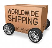 worldwide package delivery international trade import and export e commerce cardboard box with text