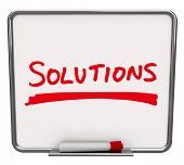 The word Solutions written on a white dry erase board with red marker to encourage you to look for a