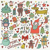 Christmas seamless pattern. Cute cartoon vector background with snowman, Santa, bear, dog and others